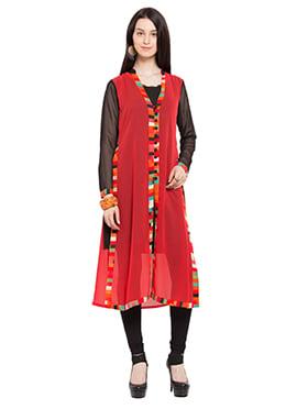 Black N Red Jacket Style Kurti