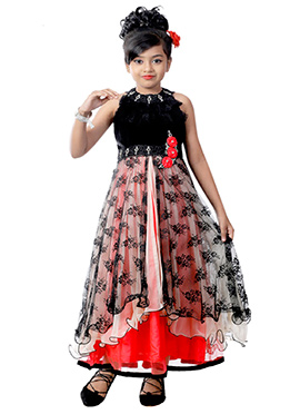 Black N Red Kids Layered Anarkali Gown