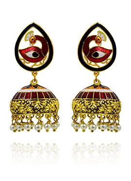 Black N Red Meenakari Jhumka Earring