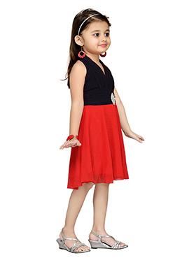 Black N Red Net Kids Dress