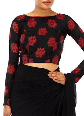 Black N Red Printed Blouse