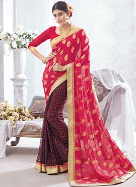 Black N Red Printed N Zari Woven Half N Half Saree