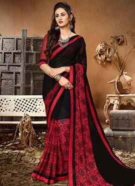 Black N Red Printed Saree
