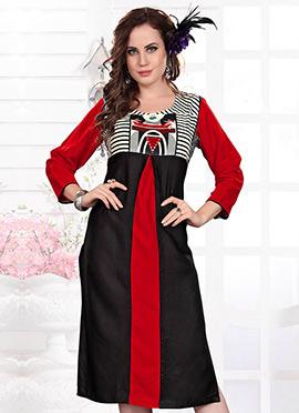 Black N Red Rayon Kurti