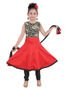 Black N Red Taffeta Kids Anarkali Suit