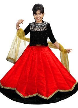 Black N Red Velvet Kids A Line Lehenga