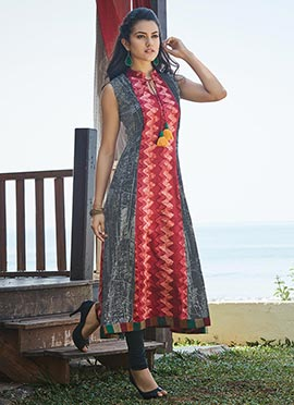 Black N Red Viscose Kurti
