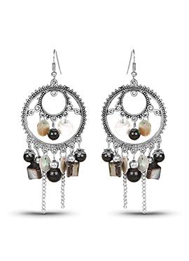 Black N Silver Chandeliers Earrings
