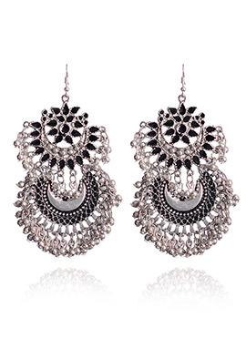 Black N Silver Hook Style Chaand Bali Earrings