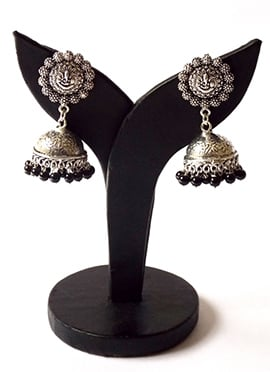 Black N Silver Jhumka Earrings