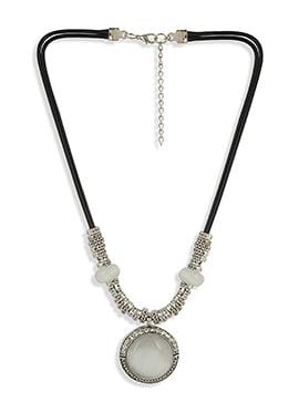 Black N Silver Stone Ornate Necklace