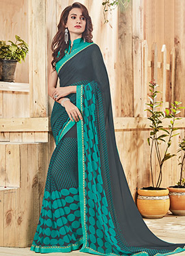 Black N Teal Green Georgette Saree