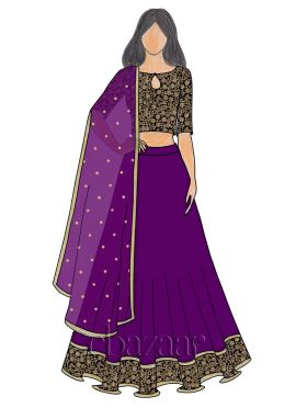 Black N Tillandsia Purple Raw Silk umbrella lehenga