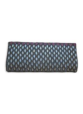 Black N Turquoise Art Dupion Silk Clutch