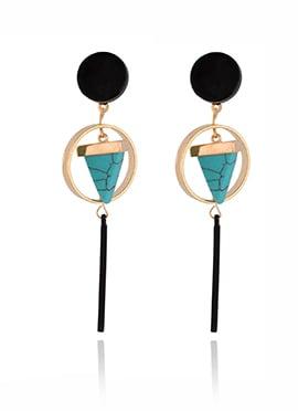 Black N Turquoise Dangler Earring