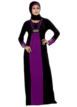 Black N Violet Lycra Abaya