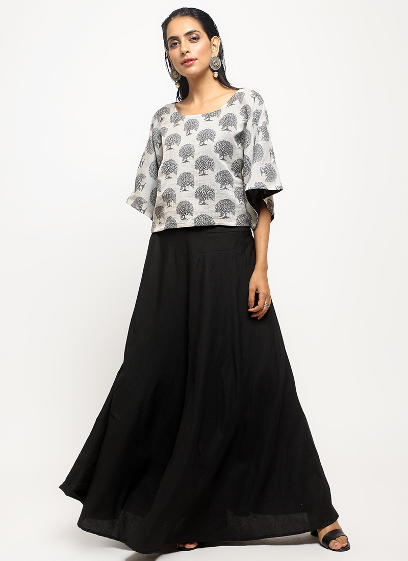 fd31583a835 indo western. 55% OFF. Ready to ship. Black N White Art Chanderi Silk Skirt  Set