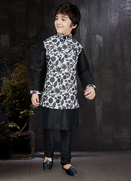 Black N White Art Dupion Silk Kids Bandi Set