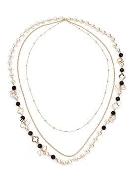 Black N White Beads Layered Necklace