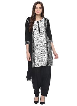 Black N White Blended Cotton Salwar Suit
