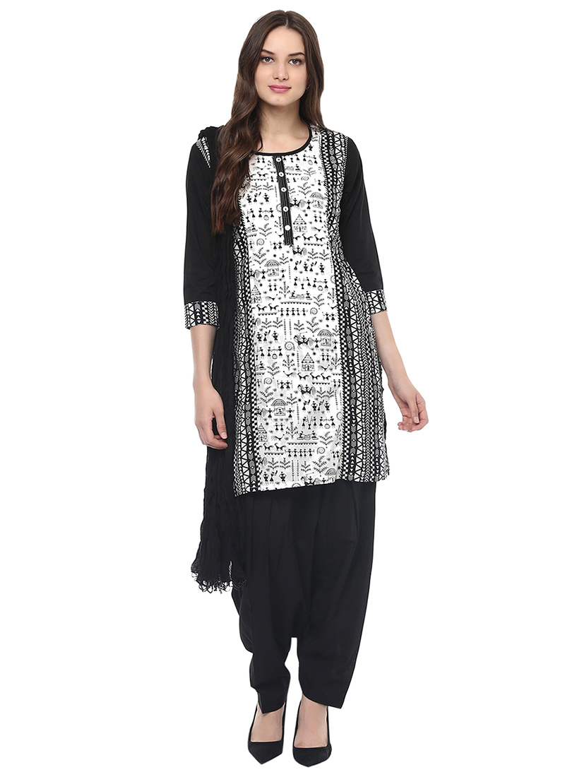 Buy Black N White Blended Cotton Salwar Suit, salwar-suit Online ...