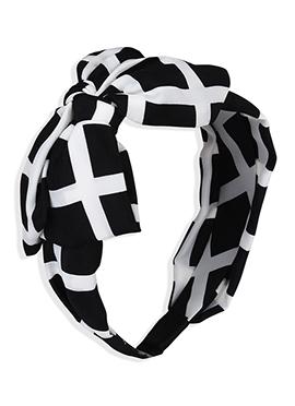Black N White Bow Style Hair Band