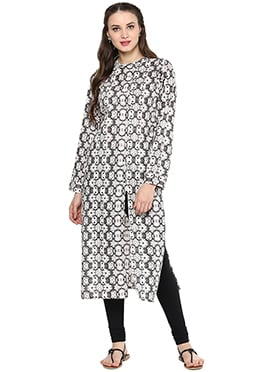 Black N White Cotton Kurti