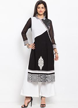 Black N White Cotton Kurti