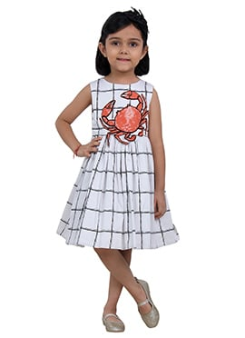 Black N White Cotton Lobster Embroided Kids Dress