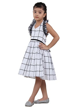 Black N White Cotton Net Kids Dress