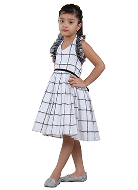 Black N White Cotton Net Kids Dress