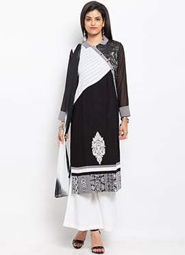 Black N White Cotton Palazzo Suit