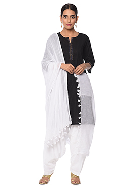 Black N White Cotton Patiala Suit