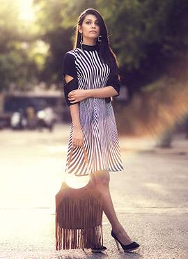 Black N White Crepe Dress