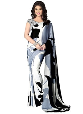 Black N White Crepe Saree