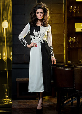 Black N White Georgette Gown