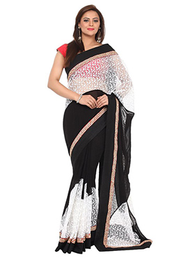 Black N White Georgette N Net Saree