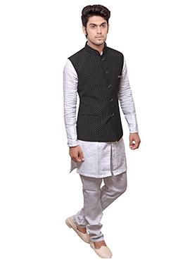 Black N White Linen Bandi Set