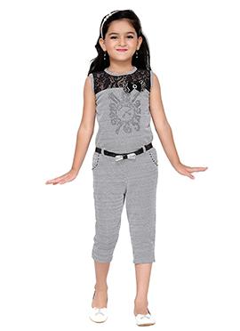 Black N White Lycra Kids Jumpsuit