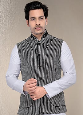 Black N White Nehru Jacket