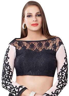 Black N White Net N Art Silk Blouse