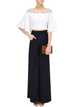Black N White Off Shoulder Palazzo Suit