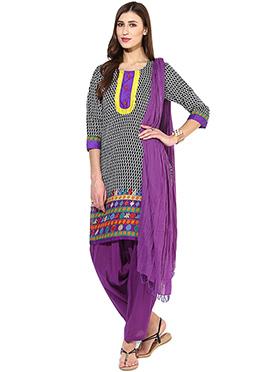 Black N Purple Printed Semi Patiala Suit