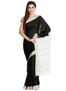 Black N White Pure Mysore Silk Saree
