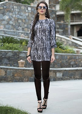 Black N White Rayon Tunic