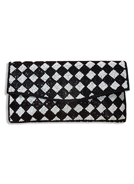 Black N White Silk Clutch