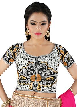 Black N White Velvet Embroidered Blouse