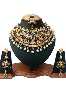 Black N White Zircon Stone Choker Necklace Set
