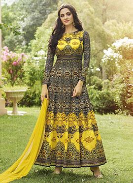 Black N Yellow Art Silk Abaya Style Anarkali Suit