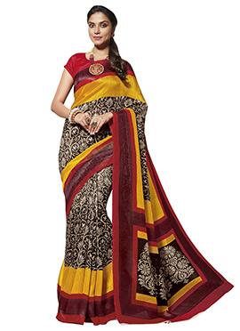 Black N Yellow Art Silk Cotton Saree